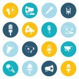Εικονίδια μικροφώνων και megaphone επίπεδα Στοκ εικόνα με δικαίωμα ελεύθερης χρήσης