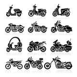 Εικονίδια μοτοσικλετών. Διανυσματική απεικόνιση. ελεύθερη απεικόνιση δικαιώματος