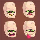 Εικονίδια μουμιών κινούμενων σχεδίων Διανυσματικό σύνολο τεσσάρων επικεφαλής συγκινήσεων zombie απεικόνιση αποθεμάτων