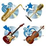 εικονίδια μουσικά Στοκ εικόνα με δικαίωμα ελεύθερης χρήσης
