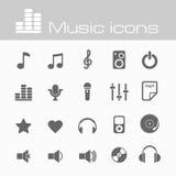 Εικονίδια μουσικής καθορισμένα Στοκ Εικόνα