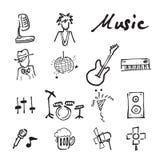Εικονίδια μουσικής και συναυλίας doodle καθορισμένα διανυσματική απεικόνιση