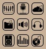 Εικονίδια μουσικής που τίθενται Στοκ Εικόνες
