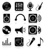 Εικονίδια μουσικής Στοκ Φωτογραφίες