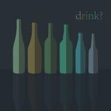 Εικονίδια μπουκαλιών Επίπεδο σχέδιο διάνυσμα απεικόνιση αποθεμάτων