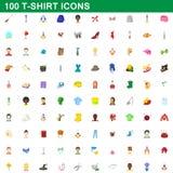 100 εικονίδια μπλουζών καθορισμένα, ύφος κινούμενων σχεδίων Στοκ εικόνες με δικαίωμα ελεύθερης χρήσης