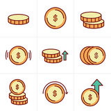 Εικονίδια νομισμάτων καθορισμένα, διανυσματικό σχέδιο Στοκ εικόνες με δικαίωμα ελεύθερης χρήσης