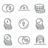 Εικονίδια νομισμάτων ύφους εικονιδίων γραμμών καθορισμένα Στοκ φωτογραφία με δικαίωμα ελεύθερης χρήσης