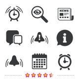 εικονίδια ξυπνητηριών Ξυπνήστε σύμβολα σημαδιών κουδουνιών Στοκ εικόνες με δικαίωμα ελεύθερης χρήσης