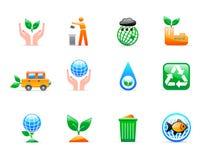 εικονίδια οικολογίας Στοκ εικόνες με δικαίωμα ελεύθερης χρήσης