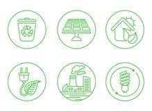 Εικονίδια οικολογίας με το άσπρο υπόβαθρο Στοκ φωτογραφίες με δικαίωμα ελεύθερης χρήσης