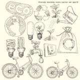 Εικονίδια οικολογίας doodles καθορισμένα Στοκ Εικόνα