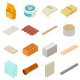 Εικονίδια οικοδομικών υλικών καθορισμένα, isometric ύφος διανυσματική απεικόνιση