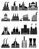 Εικονίδια οικοδόμησης εργοστασίων καθορισμένα Στοκ εικόνα με δικαίωμα ελεύθερης χρήσης