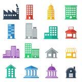 Εικονίδια οικοδόμησης χτίζοντας επίπεδο σχέδιο επίσης corel σύρετε το διάνυσμα απεικόνισης Στοκ εικόνες με δικαίωμα ελεύθερης χρήσης