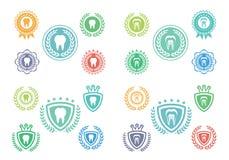 Εικονίδια δοντιών καθορισμένα, σύνολο λογότυπων δοντιών, σύνολο ετικετών δοντιών Στοκ φωτογραφία με δικαίωμα ελεύθερης χρήσης