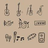 Εικονίδια οργάνων μουσικής καθορισμένα ελεύθερη απεικόνιση δικαιώματος