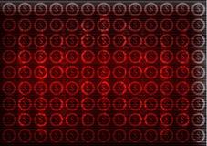 Εικονίδια δολαρίων σε ένα κόκκινο υπόβαθρο Υψηλή τεχνολογία Στοκ Φωτογραφίες