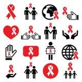Εικονίδια Παγκόσμιας Ημέρας κατά του AIDS καθορισμένα - κόκκινο σύμβολο κορδελλών Στοκ Εικόνες