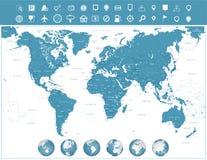 Εικονίδια παγκόσμιων χαρτών και ναυσιπλοΐας με τις σφαίρες Στοκ Φωτογραφία