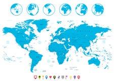 Εικονίδια παγκόσμιων χαρτών και ναυσιπλοΐας Στοκ φωτογραφία με δικαίωμα ελεύθερης χρήσης