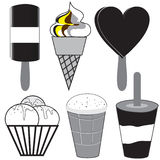 Εικονίδια παγωτού στο επίπεδο σχέδιο Στοκ Εικόνες
