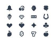 Εικονίδια παιχνιδιού και μηχανημάτων τυχερών παιχνιδιών με κέρματα Στοκ εικόνα με δικαίωμα ελεύθερης χρήσης