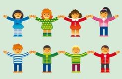 εικονίδια παιδιών που τίθ& Στοκ Εικόνες