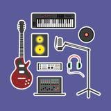 Εικονίδια παραγωγής μουσικής απεικόνιση αποθεμάτων