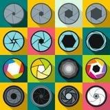 Εικονίδια παραθυρόφυλλων καμερών καθορισμένα, επίπεδο ύφος Στοκ Φωτογραφίες