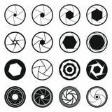 Εικονίδια παραθυρόφυλλων καμερών καθορισμένα, μαύρο απλό ύφος Στοκ Εικόνες