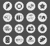 Εικονίδια παραλιών απλά Στοκ εικόνες με δικαίωμα ελεύθερης χρήσης