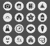 Εικονίδια παραλιών απλά Στοκ εικόνα με δικαίωμα ελεύθερης χρήσης