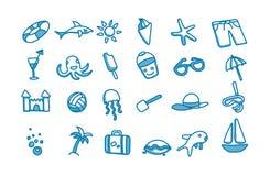 24 εικονίδια παραλιών doodle Στοκ φωτογραφία με δικαίωμα ελεύθερης χρήσης