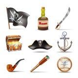 Εικονίδια πειρατών καθορισμένα ζωηρόχρωμα Στοκ φωτογραφία με δικαίωμα ελεύθερης χρήσης