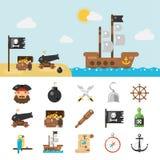 Εικονίδια πειρατών και πλήρης απεικόνιση διανυσματική απεικόνιση