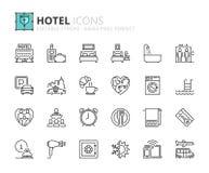 Εικονίδια περιλήψεων για το ξενοδοχείο ελεύθερη απεικόνιση δικαιώματος