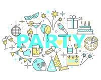 Εικονίδια περιλήψεων εορτασμού Απεικόνιση χρονικής έννοιας κόμματος, λεπτό σχέδιο γραμμών Στοκ Εικόνα