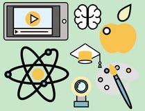Εικονίδια περιλήψεων Ιστού σχολικής τα διανυσματικά απεικόνισης εκπαίδευσης καθορισμένα το κολλέγιο που τα διαβαθμισμένα σύμβολα απεικόνιση αποθεμάτων