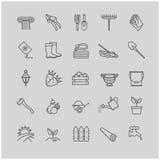 Εικονίδια περιλήψεων καθορισμένα - κηπουρική, εργαλεία, λουλούδια Στοκ Εικόνες