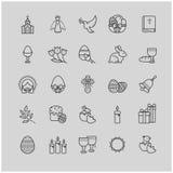 Εικονίδια περιλήψεων καθορισμένα - σύμβολα Πάσχας, άνοιξη Στοκ εικόνα με δικαίωμα ελεύθερης χρήσης