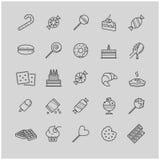 Εικονίδια περιλήψεων - καραμέλα, κέικ, μπισκότα, γλυκό, παγωτό Στοκ Φωτογραφίες
