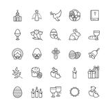 Εικονίδια περιλήψεων - σύμβολα Πάσχας, σύνολο άνοιξη Στοκ φωτογραφία με δικαίωμα ελεύθερης χρήσης