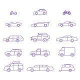 Εικονίδια περιλήψεων τύπων αυτοκινήτων καθορισμένα Στοκ Εικόνα