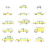Εικονίδια περιλήψεων τύπων αυτοκινήτων καθορισμένα Στοκ Φωτογραφίες