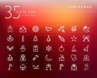 Εικονίδια περιλήψεων Χριστουγέννων καθορισμένα Στοκ Εικόνα