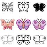 εικονίδια πεταλούδων που τίθενται Στοκ Φωτογραφίες