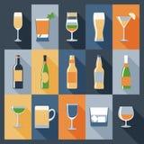 Εικονίδια ποτών επίπεδα Στοκ εικόνες με δικαίωμα ελεύθερης χρήσης