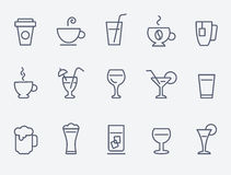 Εικονίδια ποτών Στοκ Εικόνα