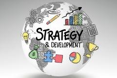Εικονίδια που περιβάλλουν το κείμενο στρατηγικής και ανάπτυξης στη σφαίρα Στοκ εικόνες με δικαίωμα ελεύθερης χρήσης